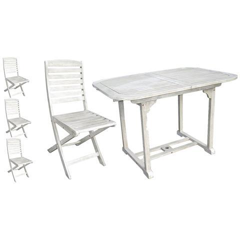 Set Tavolo E Sedie Pieghevoli.A Capaldo Set Tavolo Estensibile 4 Sedie Pieghevoli Grey Wash Eprice