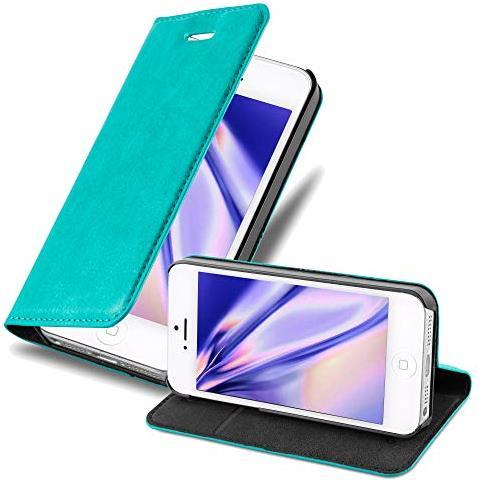 Cadorabo Custodia Libro Per Apple Iphone 5 / Iphone 5s / Iphone Se In Turchese Petrolio - Con Vani Di Carte, Funzione Stand E Chiusura Magnetica - ...