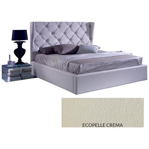 ARGONAUTA - Letto Matrimoniale C / contenitore In Ecopelle Crema ...