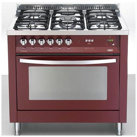 LOFRA PRG96MFT / C Rosso Burgundy Cucina 5 Fuochi Gas Forno Elettrico  Multifunzione Classe A Dimensione 90 x 60 cm Colore Rosso