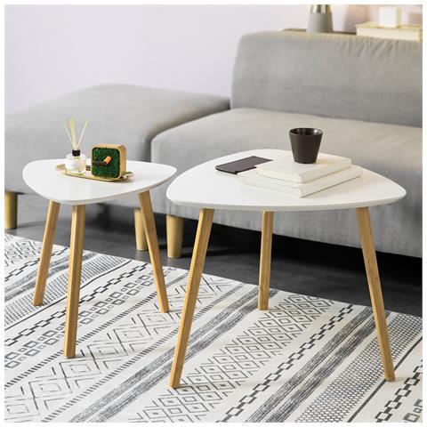 Tavolini Bassi Moderni.Sobuy Set Di 2 Tavolini Bassi Da Salotto In Legno Di Bambu Massello E Mdf Tavolino Moderno Bianco Fbt74 W