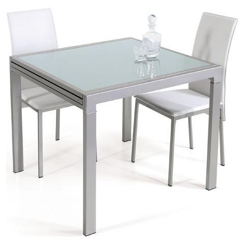 GLOBAL TRADE - Tavolo allungabile L90/180 cm in metallo silver shiny ...