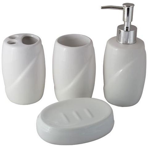 Accessori Bagno In Ceramica Bianca.Maurer Set Accessori Bagno In Ceramica Bianca 4 Pz Maurer Portasapone Spazzolini Eprice