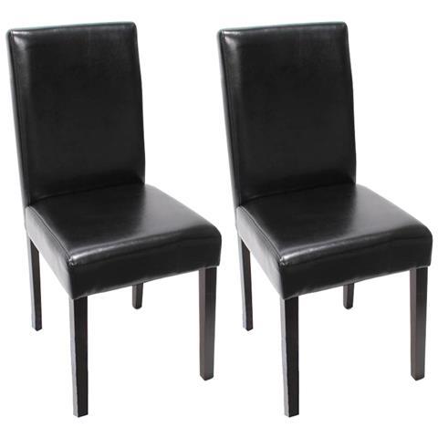 Sedie In Pelle Per Sala Da Pranzo.Mendler Set 2x Sedie Littau Pelle Per Sala Da Pranzo 43x56x90cm Nero Piedi Scuri