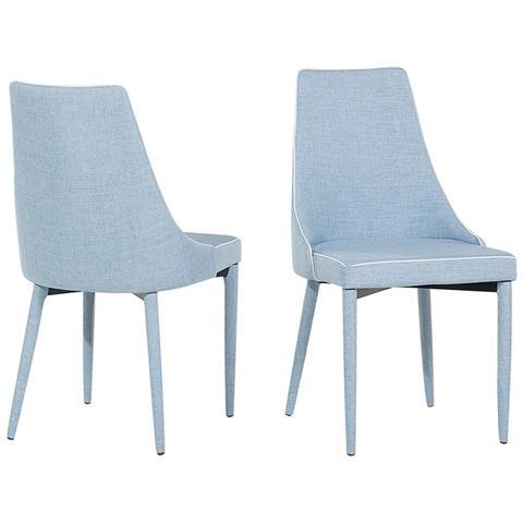 Beliani - Set Di 2 Sedie In Tessuto Blu Chiaro Camino - ePRICE