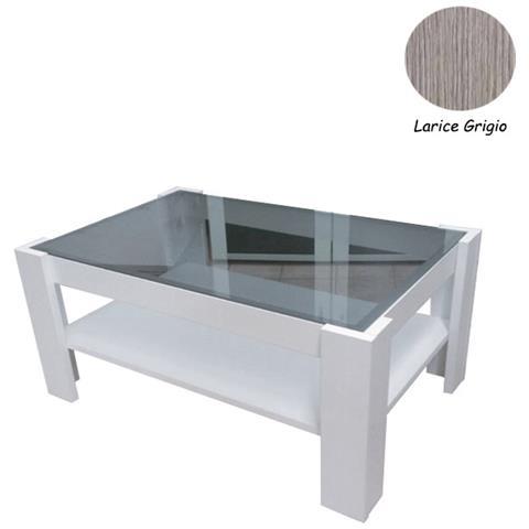 Tavolino Salotto Legno E Vetro.Argonauta Tavolino Da Salotto In Legno E Vetro Larice Grigio 90x60xh 41 Cm