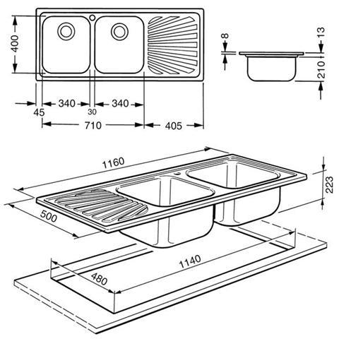SMEG - Lavello SP116D 2 Vasche Gocciolatoio a Destra Dimensioni 116 ...
