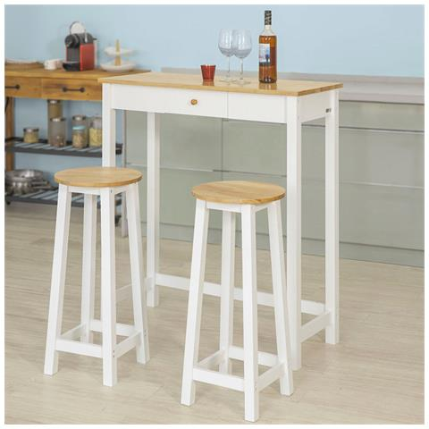 Tavolo Alto Bar Legno.Sobuy Consolle Tavolo Alto Bar Con 2 Sgabelli Penisola Cucina Mobile Piano In Legno Di Hevea A107 Cm Fwt50 Wn