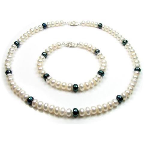 d21ea6f4440f13 Blue Pearls Parure Collana E Bracciale Perle Coltivate Bianco E Nero E 925  Argento - Bps 0217 Y