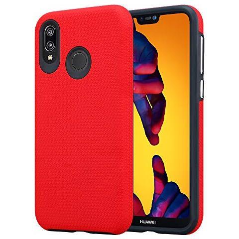 Cadorabo Custodia Per Huawei P20 Lite In Rosso Garofano - Outdoor Cover In Design Triangle Con Extra Presa Superficie Antiscivolo In Silicone E ...