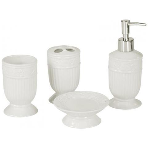 Accessori Da Bagno In Ceramica.Lorenzongift Set Accessori Da Bagno 4 In 1 Ceramica Bianca Eprice