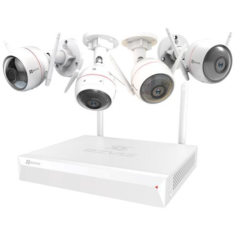 Kit Videoregistratore NVR + 4 Telecamere Senza Fili CS-BW2424-B1E10 Interno / Esterno