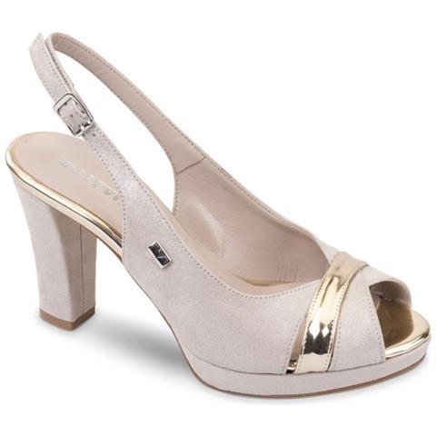 f8bdeabb6a VALLEVERDE - Sandalo Scarpe Tacco Pelle Donna Platino Platino 41 ...