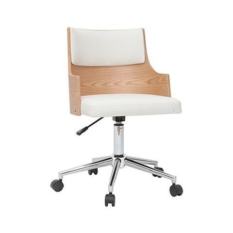 Sedie Da Scrivania In Legno.Miliboo Sedia Da Ufficio Design Bianco E Legno Chiaro Con
