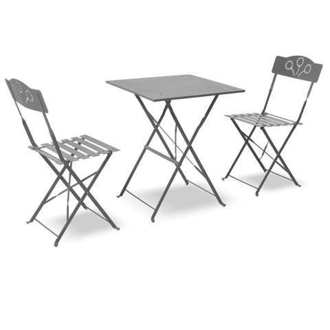 Sedie Da Esterno Pieghevoli.Q Bo Set Tavolino E Sedie Da Giardino Pieghevole Color Antracite