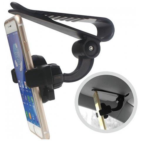 9718700eeb047f TAKESTOP Supporto Smartphone Z01 Con Clip Gancio Da Parasole Porta  Cellulare 360 Gradi Universale Regolabile Stand Anti Urto Scivolo Gps