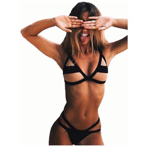 6531b85e583e DR - Costume Da Bagno Due Pezzi Donna Sexy Bikini A Triangolo Con Rete  Trasparente Per Mare E Piscina Colore Nero Taglia S - ePRICE