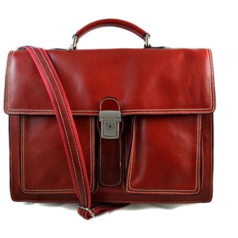 ShopSmart Cartella Pelle Borsa Uomo Cartella Valigetta Pelle 24 Ore  Briefcase Vera Pelle Rosso Borsa Ufficio. Zoom e7f502d9b41
