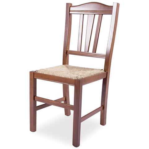 ARGONAUTA - Sedia In Legno Massello Colore Noce E Seduta In Paglia ...