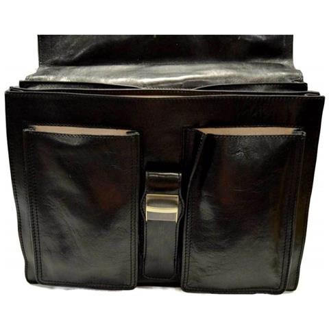 ShopSmart Cartella Pelle Borsa Uomo Cartella Valigetta Pelle 24 Ore Briefcase Vera Pelle Nero Borsa Ufficio Borsa Pelle