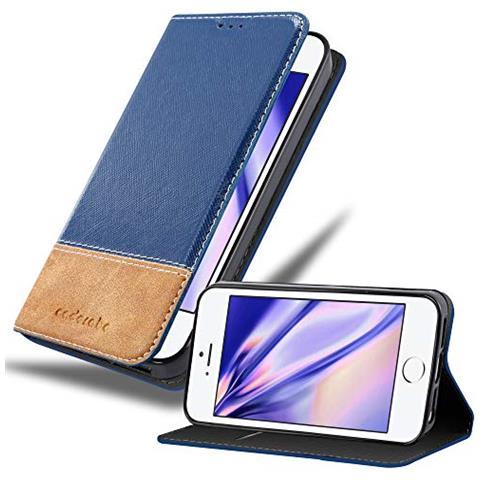Cadorabo Custodia Libro Per Apple Iphone 5 / Iphone 5s / Iphone Se In Blu Scuro Marrone - Con Vani Di Carte, Funzione Stand E Chiusura Magnetica - ...