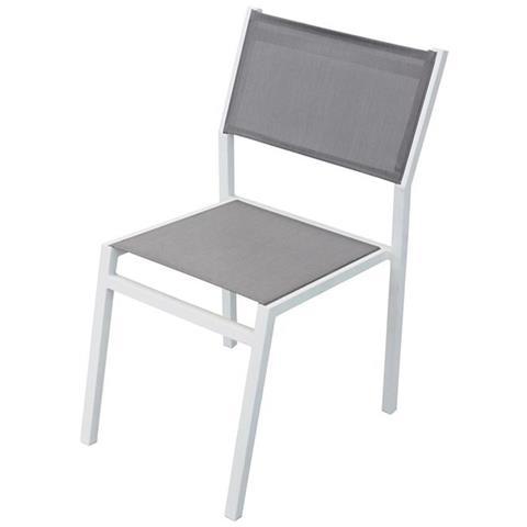 Sedie Da Giardino Impilabili.Milanihome Sedia Impilabile In Alluminio Bianco E Textilene Da Esterno Giardino Per Ristorante Agriturismo Albergo Hotel
