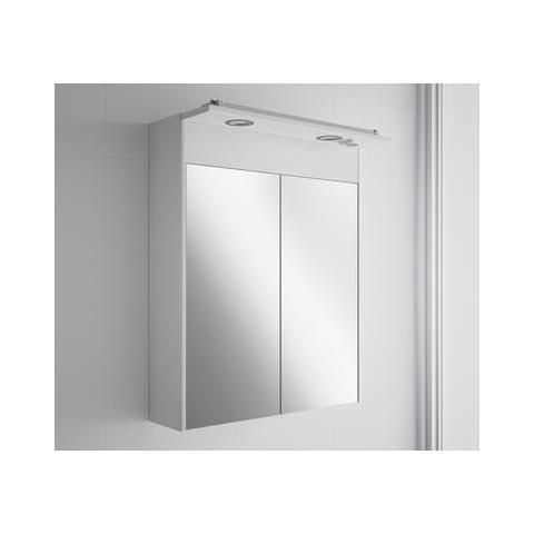 CAESAROO - Pensile Bagno Sospeso Moderno Con Specchio E 2 Lampade ...