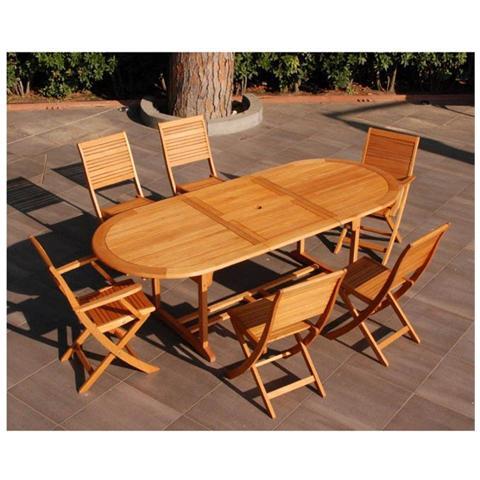 GardenOutlet - Tavolo da pranzo allungabile ovale in legno di ...