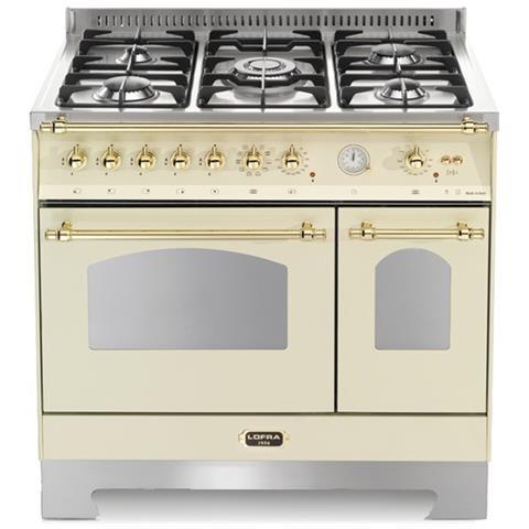 LOFRA Cucina a Gas RBID96MFTE / CI 5 Fuochi a Gas 2 Forni Elettrici 1  Multifunzione e 1 Statico Classe A Dimensioni 90 x 60 cm Colore Avorio