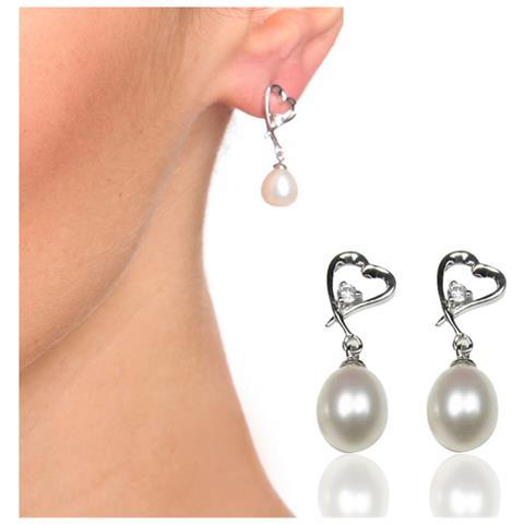 ba76252cae8c0c |Descrizione|Scheda tecnica|Consegna e Pagamento. Blue Pearls Orecchini  Cuore Perle Coltivate Bianco E 925 Argento - Bps ...