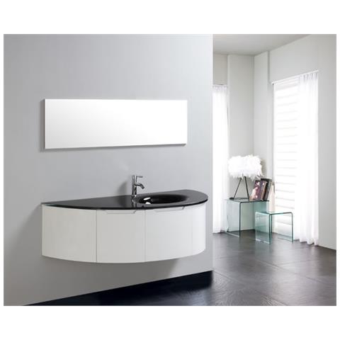 Loyalprice - Mobile Bagno Pensile Completo 150cm Bianco Nero Lavabo ...
