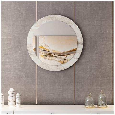 Homemania Specchio Lady Decorativo Con Cornice Da Parete Ingresso Bagno Bianco Cromo Legno Specchio 60 X 2 X 60 Cm Eprice