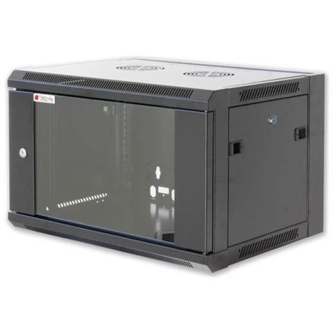 I-CASE FP-3012BKTY - Armadio Rack 19'' a muro 12 unità prof. 600 Nero da Assemblare Techly