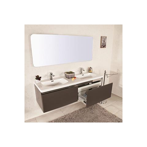 Mobile Bagno Con Due Lavabi.Marinelligroup Mobile Bagno Sospeso Moderno 150 Cm Con Doppio Lavabo E Specchio Azalea Magnolia