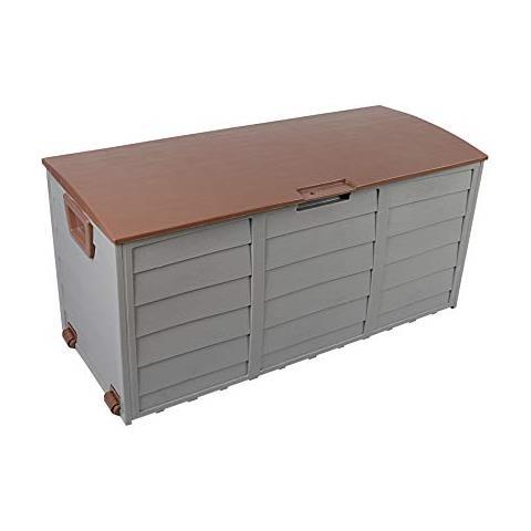 Box Per Esterni Plastica.Mobili Rebecca Rebecca Mobili Contenitore Box Da Giardino Esterno 290 Lt Plastica Marrone Grigio
