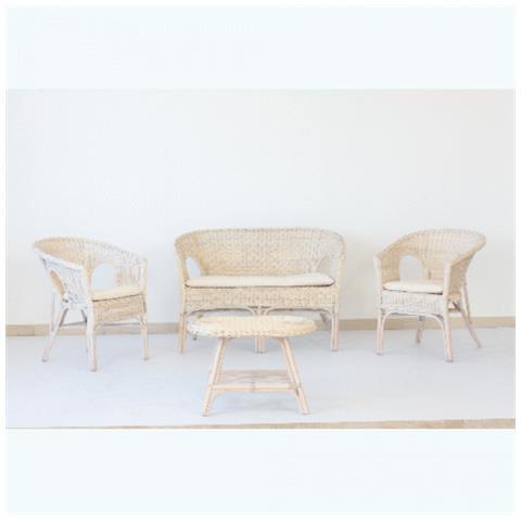 Sedie Con Braccioli Da Giardino.Dfl Set Da Giardino Polyrattan Kelek Bianco Esterno Composto Da 2