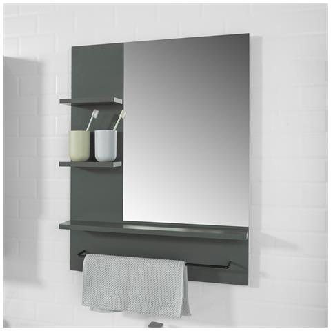 Specchio Bagno Con Mensola.Sobuy Specchio Bagno Con Mensole L60 A78 Cm Con 3 Ripiani E Porta Asciugamano Grigio Stile Industriale Bzr23 Dg