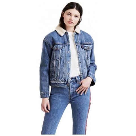 hot sales ee478 5a477 LEVI'S Ex-bf Sherpa Trucker Giacca Jeans Donna Taglia L