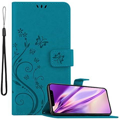 CADORABO Custodia Libro Per Apple Iphone Xs Max In Blu Fiore - In Design Di Fiore Con Chiusura Magnetica, Funzione Stand E 3 Vani Di Carte - ...