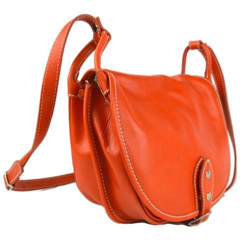 ShopSmart Borsa Donna Pelle Tracolla A Spalla Arancione Borsa Vera Pelle Hobo Bag
