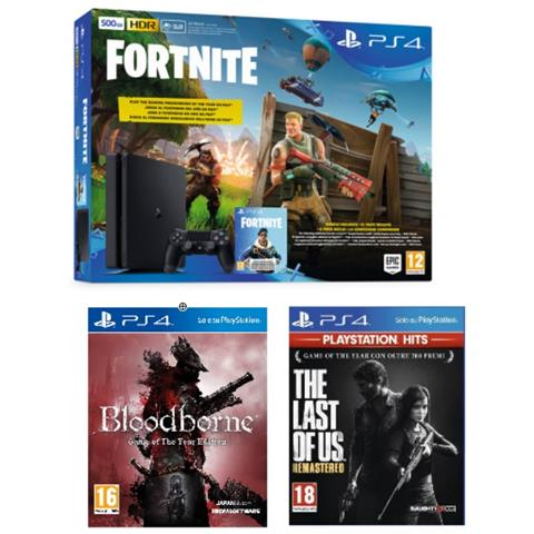 Console PS4 500GB + Fortnite Voucher + The Last of Us + Bloodborne (Hits)