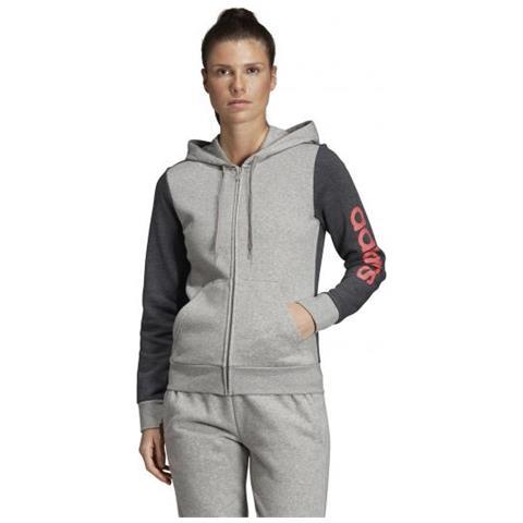super popular 22ce1 3ffd9 adidas W E Lin Fzhd Fl Felpa Con Cappuccio Donna Taglia S