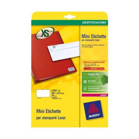 PZ.5 - Etichette adesive L7651 bianche 25fg A4 38,1x21,2mm (65et/fg) laser Avery 5014702175428 L7651-25 OFF_45208