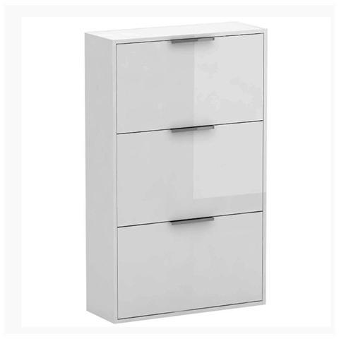 HOMEGARDEN - Scarpiera Tre Ribalte Laccata Bianco Dimensioni: 65 x ...