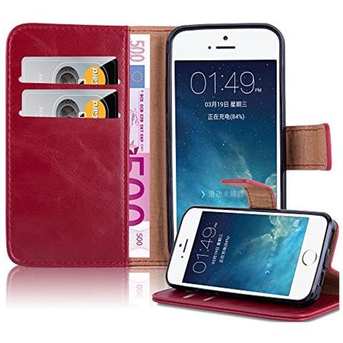 Cadorabo Custodia Libro Per Apple Iphone 5 / Iphone 5s / Iphone Se In Rosso Vinaccia - Con Vani Di Carte, Funzione Stand E Chiusura Magnetica - ...