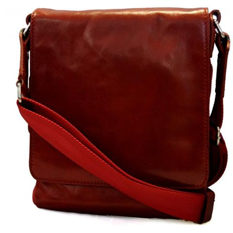 Borsa uomo donna borsello postino spalla tracolla vera pelle rosso hobo bag