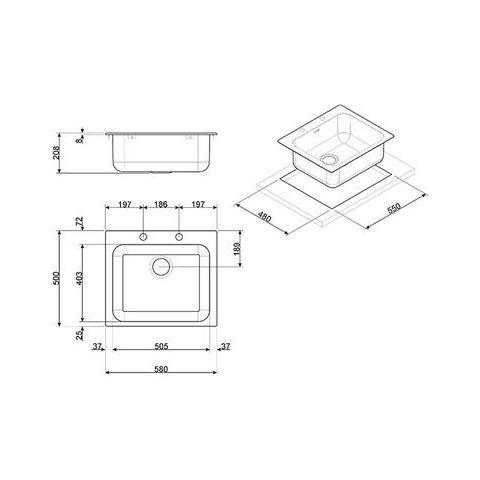 Misure Lavello Cucina Una Vasca.Smeg Lavello Da Incasso Vs50p3 1 Vasca Dimensioni 58 X 50 Cm Colore Inox Serie Alba Eprice