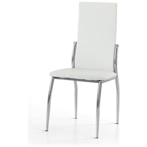 Storm Set 4 sedie create 1 metallo cromato ecopelle bianca