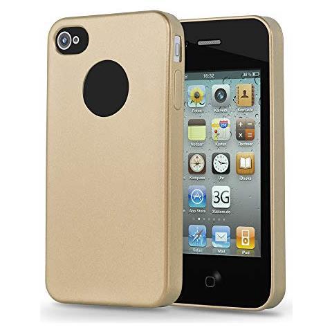 Cadorabo Custodia Per Apple Iphone 4 / Iphone 4s In Oro Metallico - Morbida Cover Protettiva Sottile Di Silicone Tpu Con Bordo Protezione - Ultra Slim ...