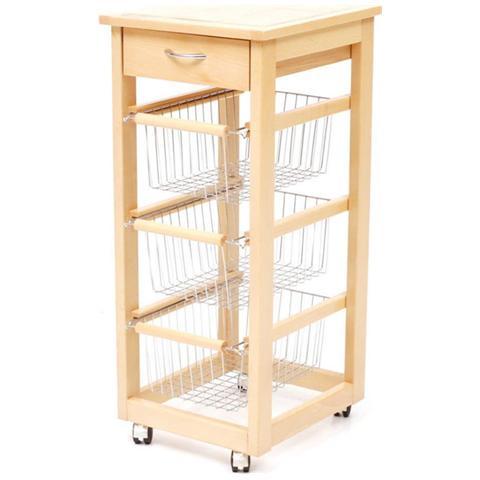HOMEGARDEN - Carrello cucina slim in legno di faggio colore naturale ...
